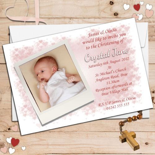 10 Personalised Pink Hearts Christening Baptism Photo Invitations N31